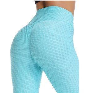 High Waist Textured Workout Leggings Booty Scrunch